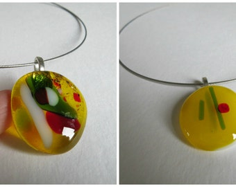 Sunny design Glasspendant in yellow - with the ability to personalize the fused glass with etched initials - Sunshine jewelry