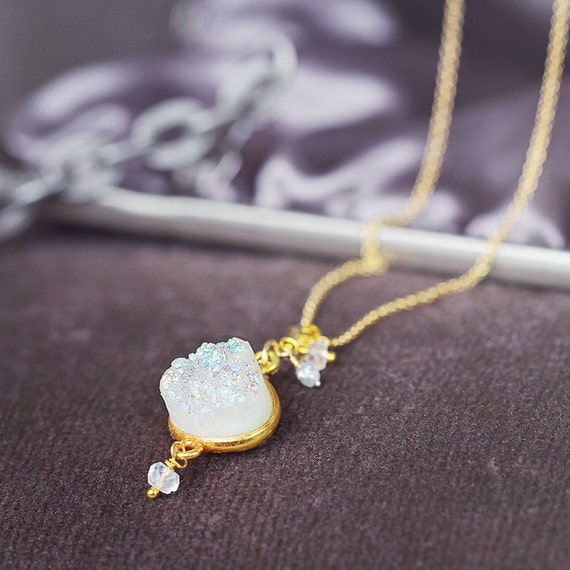 Druzy, Diamond & Moonstone Necklace - Wedding / Bridal Necklace