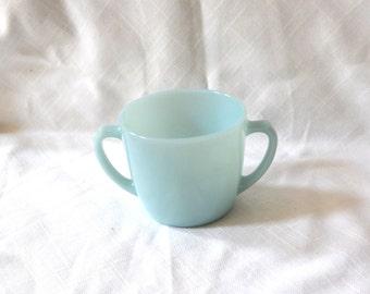 Fire King baby blue sugar bowl. D handles Fire King sugar bowl.