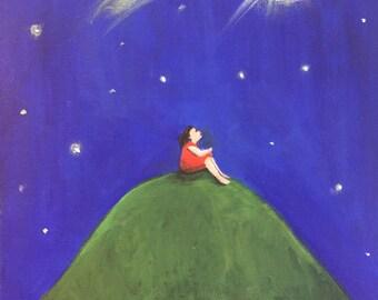 Make a Wish - Original Painting - Acrylics on Canvas - Art for Children - Wall Art - Handmade