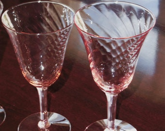 """2 TIFFIN FRANCISCAN DEPRESSION Glass Pink Swirl Goblets Pair Glasses Stems 6 1/2"""" Tall Spiral Optic Crystal Pattern Two Excellent Condition"""