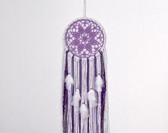Dreamcatcher, purple dreamcatcher, doily dreamcatcher, crochet dreamcatcher, boho dreamcatcher, bohemian home, wall hanging