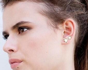 Star Climber Earrings, Gold Ear Climber, Gold Star Earrings, Crawler Earrings, Star Ear Crawler Earrings, Ear Pinning, Earring Climbers