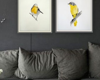 Set of 2 original paintings. Watercolor on paper. Birds in watercolor. Modern watercolor paintings. Yellow bird. Robin bird.