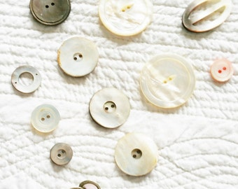 Vintage Cottage Home Heirloom White Mother of Pearl Button Collection, Set of Thirteen, Olives and Doves
