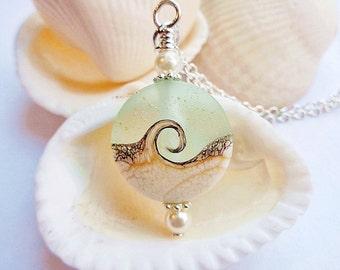 AQUA BLUE WAVE Lampwork Glass Beaded Necklace, Purple Pendant, Swarovski Pearl, Pendant Necklace, Lentil Bead Necklace, Beach Jewelry,Wiccan