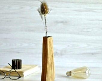 bud vase, wooden vase, flower vase, Shabby Chic, wood home decor, dried flowers, stick vase, wood vessel, split wood,  natural shape, gift