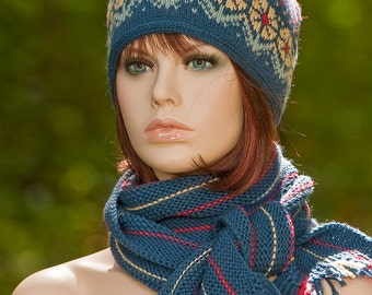 Hand knitted fair isle set: hat with tassel and complementary scarf, jacquard set, indigo, red, yellow, woolen set, winter set, wollen hat.