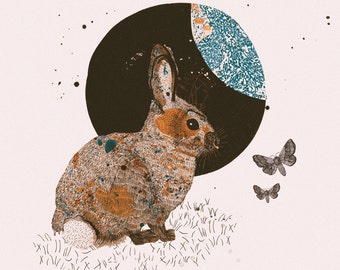 Woodland Forest Series, Illustration Art Giclee Print 'Rabbit & Moth'