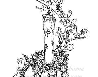 Splendid Crystal Candle Light Printable Page, Adult Coloring, Illustrator, PDF, Original Ink Pen Drawing by Aeris Osborne