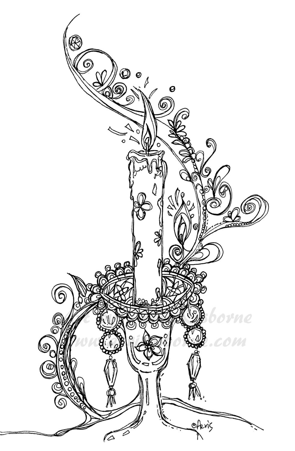 Splendid Crystal Candle Light Printable Page Adult Coloring