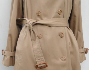Women's Trench Coat, 1970s Evan Picone Outerwear Size 8, Khaki All Weather Double Breasted Trench, 70s Fully Lined Winter Coat Excellent