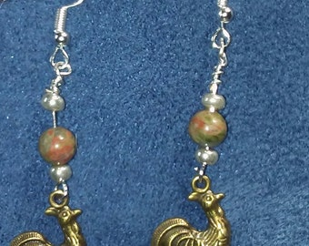 Rooster lovers dangle earrings with Sterling Silver fish hook wires FREE SHIPPING