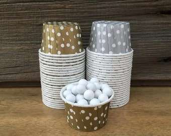 Gold and Silver Paper Snack Cups - Set of 48 - Polka Dot Candy Cups - Holiday Party - Ice Cream Cups - Paper Nut Cup - Same Day Shipping