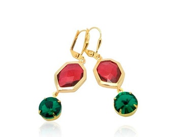Red and green crystal Christmas earrings, Festive red and green jewellery, Gift for girlfriend, Teal green ruby red and gold dangle earrings