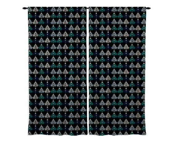 window curtains window treatment black navy teal by