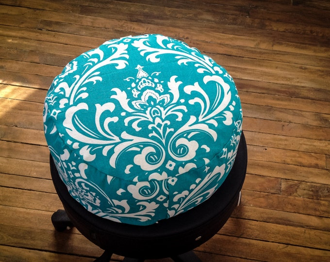 Meditation cushion Pouf Zafu Teal damask organic Buckwheat pillow with lining handmade by Creations Mariposa ZP-DS