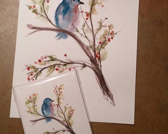 Bird & Berry Card - Stationary - Bird Card - Note Card