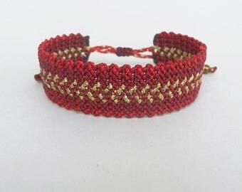 Macrame cuff bracelet,Red Maroon Gold,Womens gift,Adjustable,Makrame wristband,Burgundy,Boho chic,Zig Zag,Elegant,Gypsy,Waxed cord jewelry