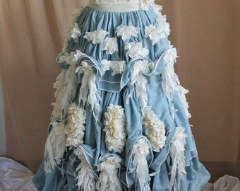 Long Bustle Skirt (Blue & Cream Victorian Petticoat) Size S Waist 26'' Ready to Ship