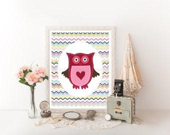 Owl Decor Digital Download, Owl Printable, Owl Download Print,Owl Decor, Owl Digital Download, Pink Owl, Nursery Owl, Nursery Decor 0095