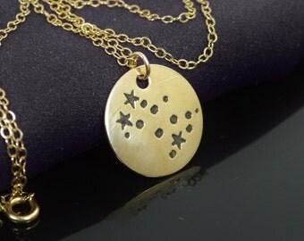 14k Gold Filled Gemini Necklace, Gemini Necklace, Gold, Gemini Constellation, Gemini Jewelry, Zodiac Necklace, Gemini  Zodiac, Gold Necklace