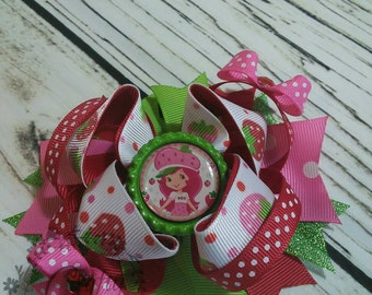 SALE Strawberry Shortcake Stacked Boutique Hair Bow 4.5 inch