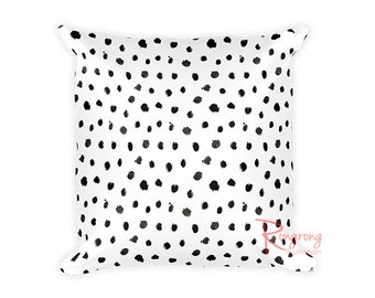 Black Dots Pillow Cover, Black Dalmation Pillow Covers, Animal Prints Pillow, Chic Throw Pillow,