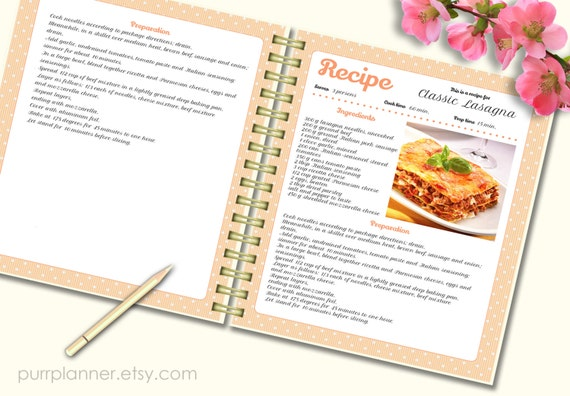 recipe template cook book pattern editable recipe by