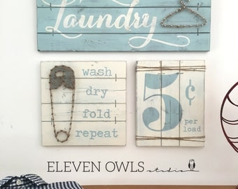 LAUNDRY SIGN SET, Laundry Room Decor, Laundry Room Decor Signs, Rustic Laundry Room decor, Laundry Sign, Wood Laundry Sign, Fixer Upper