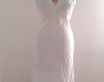Vintage 1930's Baby Blue Bias Cut Rayon Nightgown Slip Eyelet Lace Sz Med 36 Old Hollywood