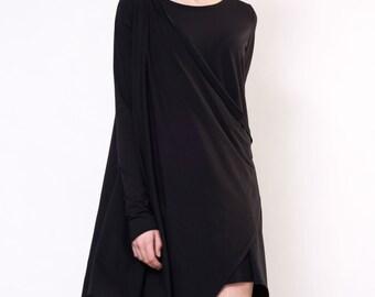 Asymmetrical Designer Dress / Light Black Viscose Dress / Modern Black Dress / Little Black Asymmetrical Dress  by DIDRESS