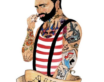 Tattooed Sailor, Tattoo, A3 Signed Print, Watercolour/Watercolor, Quirky, Illustration, Sailor Jerry, Bearded/Beard, Tattoo Flash, Nautical