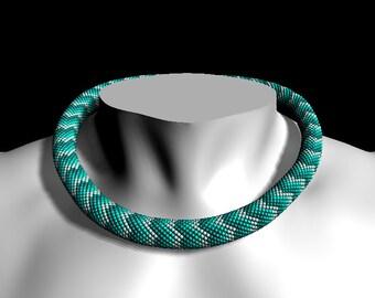 """Bead crochet pattern """"Sea waves"""", PDF tutorial pattern, Crochet rope, Bead Crochet rope pattern necklace or bracelet - Pattern Only"""