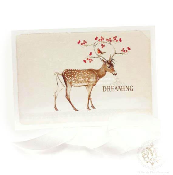 Deer Christmas card dreaming reindeer with a robin