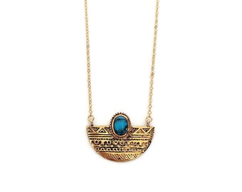 Gold & Turquoise Ethnic Necklace, Half Moon Antiqued Pendant with Stone Accent // Boho Layering Long Necklace // Bohemian Tribal Necklace
