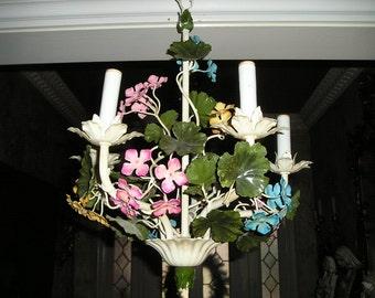Beautiful Spring like Multi Flower Petit Vintage Italian Tole Chandelier/Light Multi Coloured Fixture Home Decor