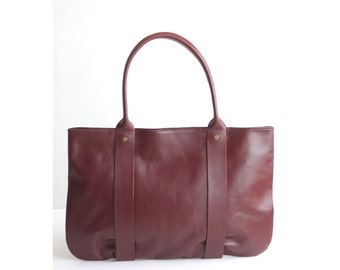 "JANUARY Leather Tote Bag. Tote Bag. Leather Handbag. Leather Bag. Women Handbag. Women Bag. Work Bag. 13"" Laptop. Ox-blood Red. CarryAll Bag"