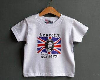 Anarchy in the Nursery kids punk tshirt. Alternative toddlers t-shirt for Punk Rock baby 1-2 years