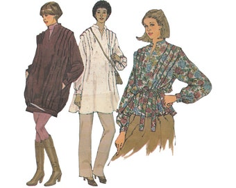 Loose Fitting Pullover Tunic or Top and Tie Belt Simplicity 8619 Tucked Shoulders Size 10-12 Bust 32-34 Uncut 1970s Sewing Pattern