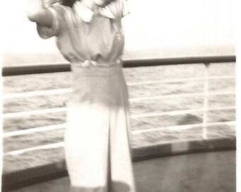 "Vintage Snapshot ""Ocean Breeze"" Pretty Girl Long Hair Cruise Ship Deck Found Vernacular"
