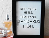 Heels, Head and Standards - Coco Chanel Framed Print
