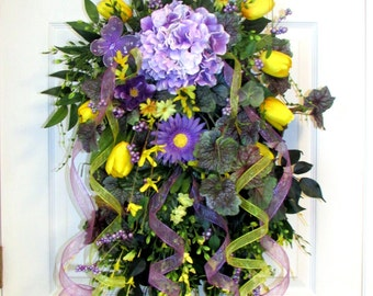 "Spring/ Summer wreath, ""Spring Fever"", teardrop floral swag, vertical floral swags, spring door swag, bridal gift"