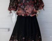1970's Sheer Off the Shoulder Black Floral Boho Dress - Disco