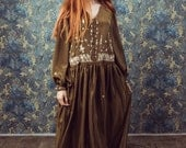 Silk bohemian dress,Beaded and Embroidered  dress/Floral eembroidery/bohemian chic/ brown /caftan dress/Handmade by Louisa/