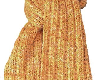 Hand Knit Scarf - Firelight Yellow Gold Cashmere Squeeze Trail Ridge Rib