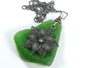 Thick Green Sea Glass with a 925 Antiqued Sterling Silver Wire Wrap with a Lotus Charm on an Antiqued Sterling Silver Diamond Cut Bead Chain