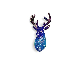 Sparkly Stag Brooch // Sparkly Brooch, Deer Brooch, Stag Jewelry, Stag Pin, Glittery Brooch, Galaxy Brooch  // Choose Your Own Colour!