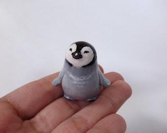Baby penguin polymer clay animal totem figurine