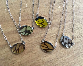 Small Black and White Butterfly Wing Necklace - graceful oval, waterproof, sterling silver